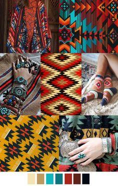 F/W pattern & colors trends; South by Southwest Textures Patterns, Color Patterns, Print Patterns, Color Schemes, Ethnic Patterns, Fashion Colours, Colorful Fashion, Motif Navajo, Boho