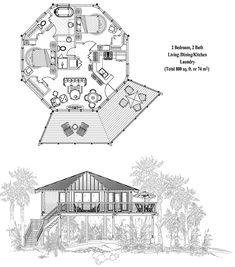 Topsider Homes House Plans: Piling Collection PG-0302, 800 sq. ft., 2 Bedrooms, 2 Baths