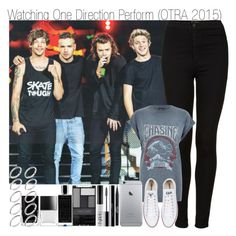 """""""Watching One Direction Perform"""" by elise-22 ❤ liked on Polyvore featuring Topshop, River Island, Converse, Stila, shu uemura, NARS Cosmetics, Wet n Wild, Agonist, Butter London and ASOS"""