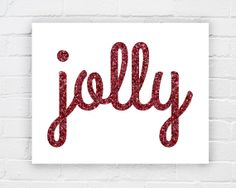 Glitter Christmas typography printable decoration  by WhereisAlex, $5.00