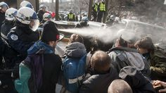 Police use pepper spray on students protesting in Montreal on Feb. 16, 2012.  http://www.ctv.ca/CTVNews/Canada/20120216/quebec-student-demonstration-120216/