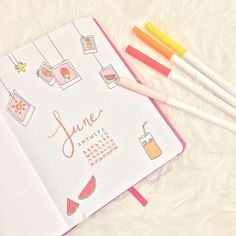 My first ever bullet journal spread ☀️ Been wanting to start something new, inspired by @christina77star June Polaroid theme .…