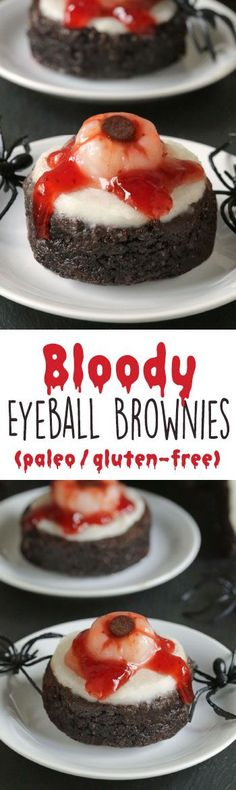 Bloody Eyeball Brownies without food coloring! This brownie base is paleo, gluten-free, grain-free and dairy-free but these bloody eyeball brownies can be made with any brownie recipe. Perfect for Halloween! recipes for halloween Halloween Desserts, Halloween Dinner, Halloween Goodies, Halloween Food For Party, Halloween Treats, Halloween Halloween, Halloween Brownies, Halloween Eyeballs, Halloween Chocolate