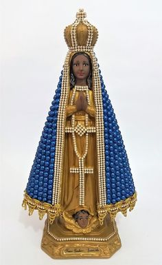 Nossa Senhora Aparecida com pérolas - 33 cm - Azul Mexican Art, Virgin Mary, Santa Maria, Madonna, Catholic, Religion, Sculptures, Princess Zelda, Christmas Ornaments
