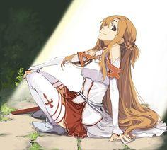 Asuna - By Sword Art Online Kirito and Asuna ღ Schwertkunst Online, Arte Online, Online Anime, Girl Online, Chica Anime Manga, Kawaii Anime, Sao Anime, Anime Long Hair, Sword Art Online Wallpaper