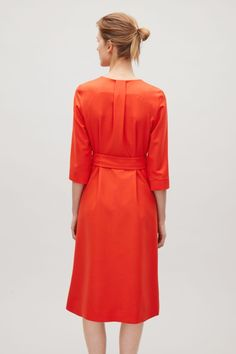 COS image 10 of Belted wool dress in Red
