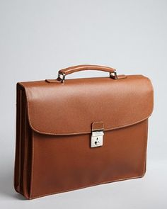 Longchamp - cognac pebbled leather briefcase