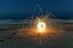 Steel Wool Sparks on the Beach | Flickr - Photo Sharing! by: Evan  Cool use of light photos!