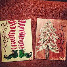 Christmas Painting Art Decorative Elf Stockings & Christmas Tree on Etsy, $35.00