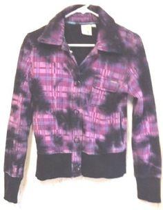 Junior's Jacket Coat Purple & Black Plaid Junior Ladies Medium Roxy Brand Cute #Roxy