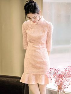 Epic Pink Lace Frill Hem Qipao / Cheongsam Dress