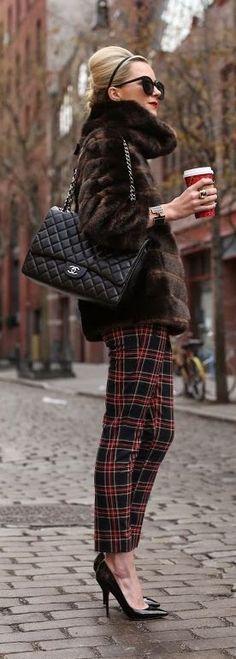 Plaid, fur and Chanel #holidays #streetstyle #fashion