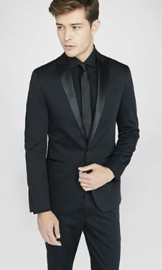 photographer cotton sateen black tuxedo jacket from EXPRESS