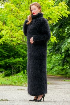 Black fuzzy mohair sweater hand knitted turtleneck unique dress SUPERTANYA SALE #SUPERTANYA #TurtleneckMock