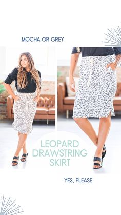 We can't get enough of our favorite Leopard Drawstring Skirt! There are just so many things about it that we love, from the drawstring waist to the trendy leopard print to the midi length, it is an absolute dream! Our skirt is so lightweight and breathable it is perfect all year long! The super-soft cotton fabric makes our skirt a must-have this season! Cute Casual Outfits, Jean Outfits, Drawstring Waist, Plus Size Outfits, Love Fashion, Cotton Fabric, Sequin Skirt, Skirts, Clothes
