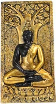 "A wall plaque with a wall hanger embedded in the back showing a meditating Buddha sitting in front of a Bodhi tree. Cold Cast Resin. 9"" x 4 12"" x 34"""
