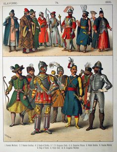 "Plate Renaissance: Slavonic: Russian men, Hungarians, King of Poland. ""Costumes of All Nations"" by Albert Kretschmer & Carl Rohrbach Historical Art, Historical Costume, Historical Clothing, Renaissance, Character Art, Character Design, Stage Beauty, Early Modern Period, European History"