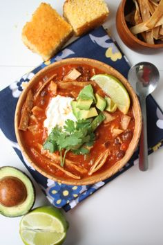 A flavorful Mexican soup with crispy fried tortilla strips and shredded chicken! If you like chili con carne, you'll love this soup!