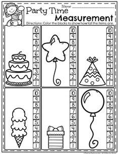 Measurement Worksheets for Kindergarten - Party Time Non-Standard Measurement #kindergartenmath #measurement #mathworksheets #kindergartenworksheets #measurementworksheets