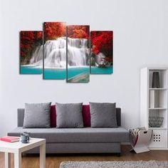 Waterfall in Thailand Multi Panel Canvas Wall Art