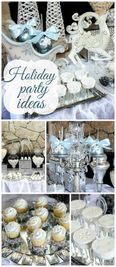 A simple and elegant white Christmas dessert table in white, silver and pale blue! See more party planning ideas at CatchMyParty.com!