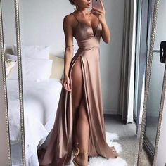 High-Split Dress Maxi Dress Sexy Women Solid Evening Party Clubwear Long Dresses Features: is made of high quality materials,durable enought for your daily we… Satin Dresses, Elegant Dresses, Sexy Dresses, Evening Dresses, Prom Dresses, Gowns, Summer Dresses, Long Dresses, Long Satin Dress