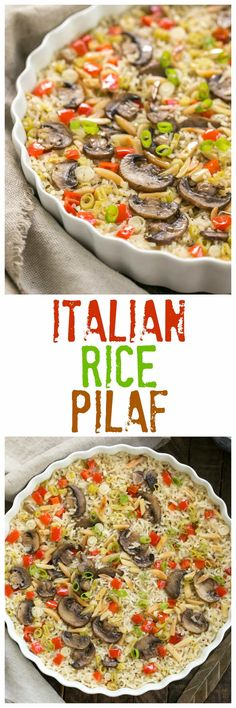 Italian Rice Pilaf with Toasted Almonds | Super easy, scrumptious, oven baked rice! #rice #easysidedish
