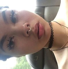. Eyelashes, Eyebrows, Aesthetic Fashion, Septum Ring, Temple, Makeup Looks, Piercings, Goals, Pretty