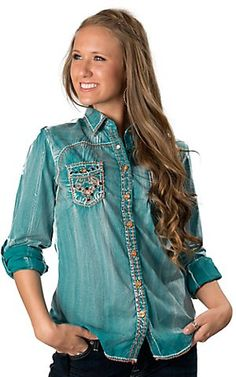 Roar® Women's Turquoise Stary Eyed with Orange Embroidery and Rhinestones Long Sleeve Western Shirt | Cavender's Boot City