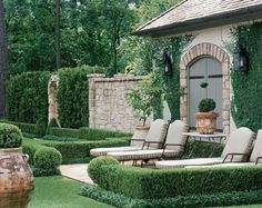 Affordable And Effective Cottage Garden Designing Methods For Your Home Your home is your world, and much like the world around us, looks are important. You may take your time to care for your house, but what about your yard? Formal Gardens, Outdoor Gardens, Outdoor Rooms, Outdoor Living, Landscape Design, Garden Design, Boxwood Garden, Garden Pool, Herb Garden