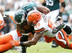 Eagles RB Ryan Mathews (24) and Browns LB Christian Kirksey (58) collide as Mathews carries the ball during the first quarter of the game at Lincoln Financial Field in Philadelphia, Sunday, Sept. 11, 2016. (Lori M. Nichols   For NJ.com)