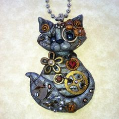 Steampunk Silver Gray Tabby Cat Necklace Polymer by Freeheart1