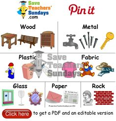Materials and examples of objects that are made from them. Go to http://www.saveteacherssundays.com/science/year-1/379/lesson-1-objects-and-the-materials-they-are-made-from/ to download this Materials and examples of objects that are made from them. #SaveTeachersSundaysUK