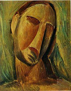 Head of woman, 1908, Pablo Picasso Size: 27x21 cm Medium: gouache on panel