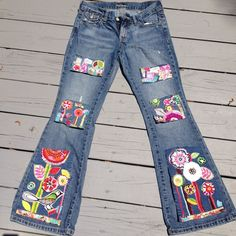 hippie patched denim boho gypsy patch work upcycled by SewUnruly