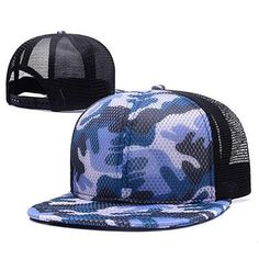 reputable site 69007 1d7a1 Top Quality Cotton Flat Brim Camo Baseball Cap Mesh Snapback Hip Hop Hats  Camouflage Black White Red Grey Royal Blue