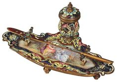 A French Champleve And Bronze Inkstand :
