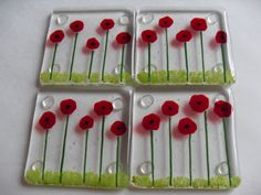 Poppy Fused glass coaster set. $50.00, via Etsy.