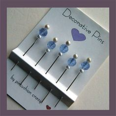 Decorative Sewing Pins - Blue Violet Crystals - Pin Toppers - Dress up your Pincushion (idea for a polymer clay pin topper)