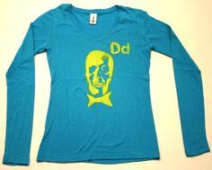 DEAD MANS PARTY  -100 % cotton long sleeve v neck   -Blue yellow print  PRICE: $30.00    http://www.druedun.com/store/44/31/DEAD-MANS-PARTY.html