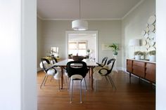 sheepskin throws on dining room chairs