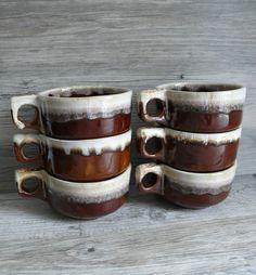 6 Brown Drip Glaze Western Stoneware Maple Leaf Handled Soup Mugs Bowls Ovensafe #WesternStonewareWS