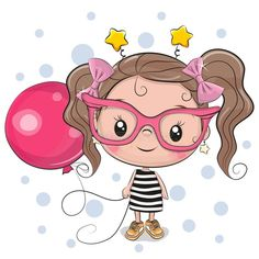 Cute Girl with pink glasses. Cute Cartoon Girl with pink glasses and balloon stock illustration Cartoon Girl Images, Cute Cartoon Pictures, Cute Cartoon Girl, Cute Images, Pictures To Draw, Art Drawings For Kids, Drawing For Kids, Cartoon Drawings, Balloon Illustration