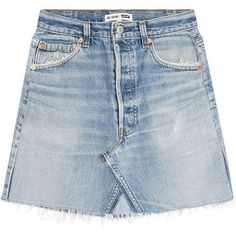 RE/DONE Denim Skirt ($299) ❤ liked on Polyvore featuring skirts, mini skirts, bottoms, blue, blue denim mini skirt, ripped skirt, distressed denim skirts, denim mini skirt and blue skirt