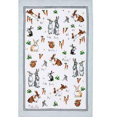 hippity hoppity bunnies linen tea towel by ulster weavers | notonthehighstreet.com