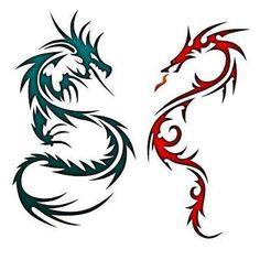 Matching Chinese Dragons Tattoo Design