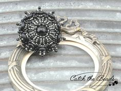 Black and Silver Beaded Brooch by CatchTheBeads on Etsy