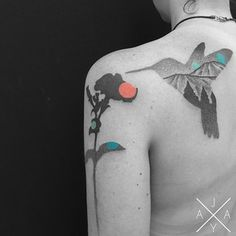 Love the mountain silhouette in the hummingbird. 27 Insanely Talented Tattoo Artists You Should Be Following On Instagram