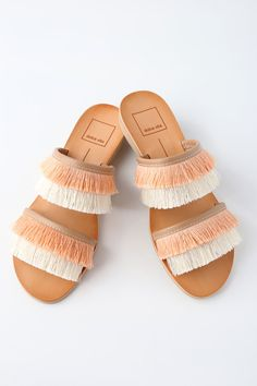 White sand beaches call for the Dolce Vita Haya Natural Fringe Slide Sandals! Trendy coral orange and cream fringe cover the two-strap upper of these easy-to-wear slide sandals.