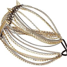River Island Silver And Tone Chain And Spike Head Piece ($24) ❤ liked on Polyvore